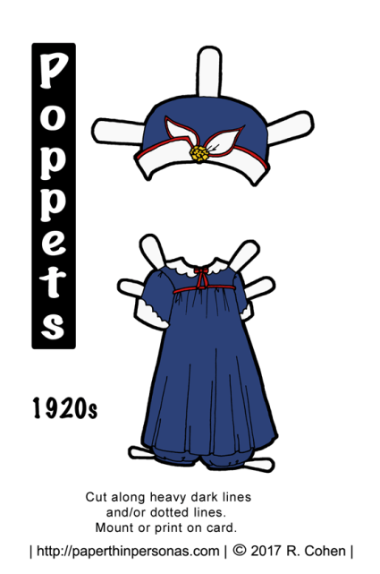 A 1920s playsuit in navy and red for the Poppet printable paper doll series from paperthinpersonas.com.