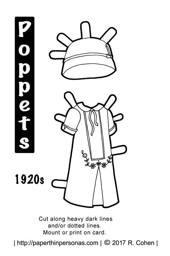 A 1920s inspired paper doll dress for the Poppet printable paper doll series. Free printable in black and white to color from paperthinpersonas.com.