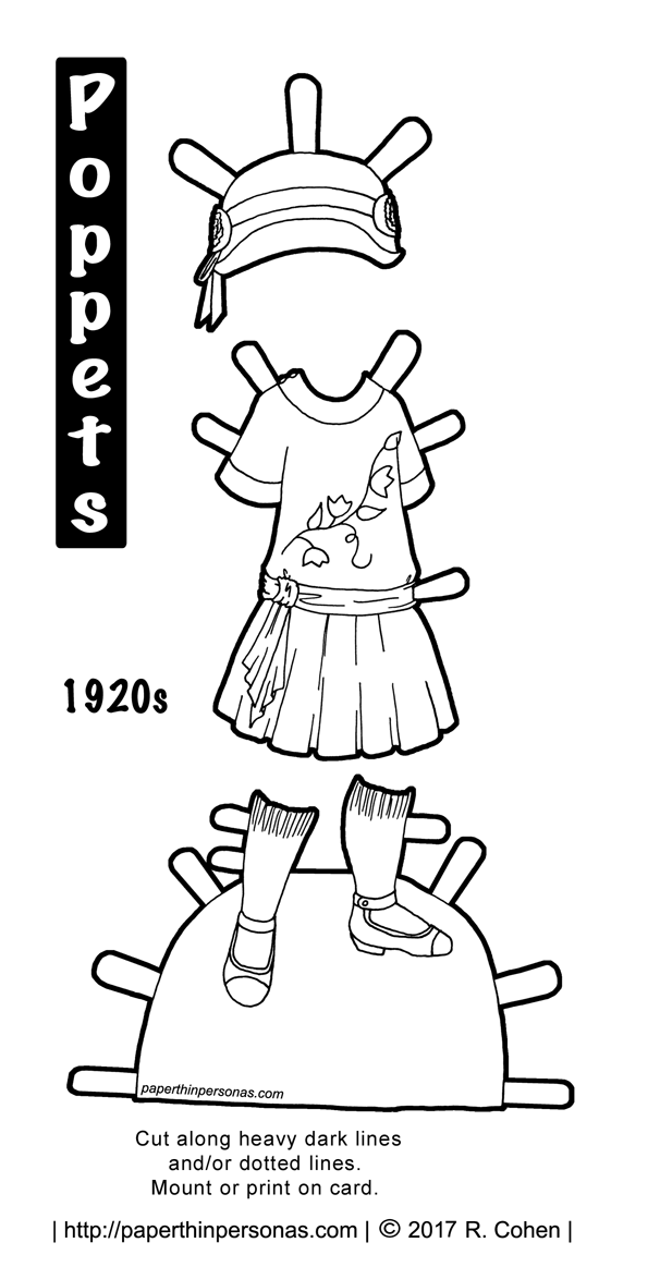 A 1920s child's dress with a matching hat and shoes for the printable paper doll from the Poppet series. Free to print and color from paperthinpersonas.com.