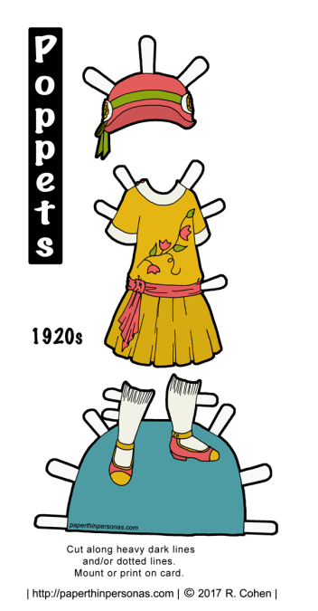 A 1920s child's dress with a matching hat and shoes for the printable paper doll from the Poppet series. Free to print in color or black and white from paperthinpersonas.com.