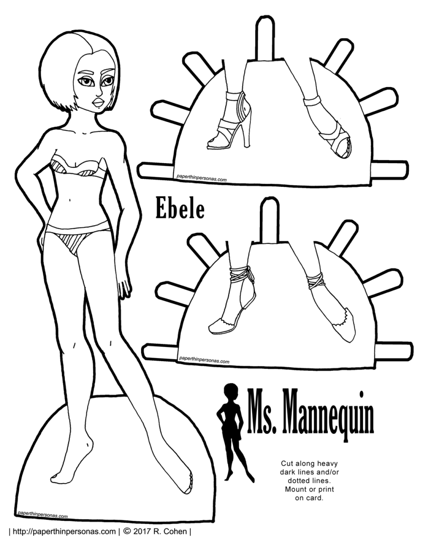 Ebele, a black paper doll, is a model for the Ms Mannequin series. She has a bobbed haircut and two pairs of summery shoes. Free to print in color or black and white.