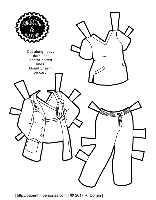 A Nurse Or Doctor Paper Doll Outfit With Scrubs And Lab Coat Free