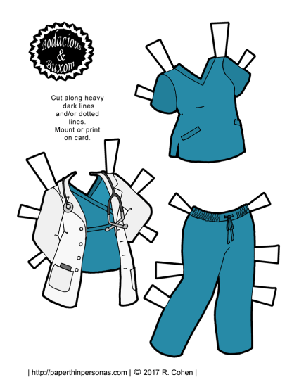 A nurse or doctor paper doll outfit with teal scrubs and a white lab coat. A free printable paper doll from paperthinpersonas.com in color or black and white.