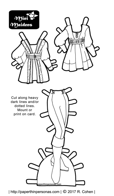 A paper doll coloring page featuring a three piece fantasy outfit with leggings and tunics. Free to print and color from paperthinpersonas.com.