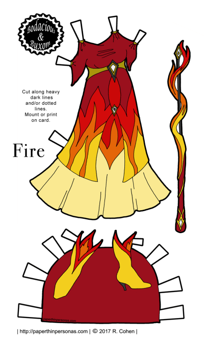 A fire inspired paper doll dress with matching boots. Part of the Sorceress Gowns' Project from paperthinpersonas.com. Free to print in color or black and white.