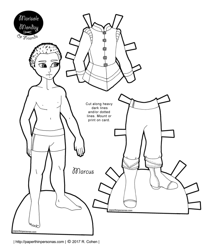 A princely African-American paper doll with a Tudor inspired suit. Free to print from paperthinpersonas.com and he has lots of other clothing options, too.