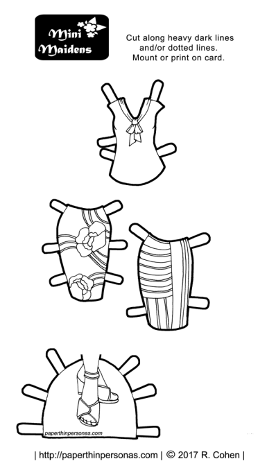 A printable paper doll coloring page of a pair of pencil skirts and a blouse from paperthinpersonas.com.