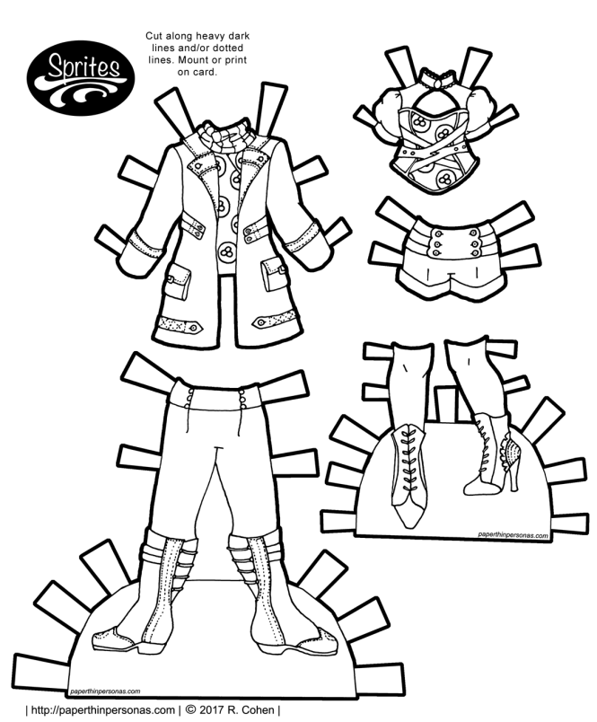 Paper doll steampunk clothing designs for the Sprites paper doll series. Free to print in color or black and white from paperthinpersonas.com.