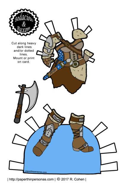 Wildly impractical Viking inspired armor with an axe and boots for a printable paper doll.