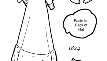 a paper doll coloring page of a walking dress from 1824