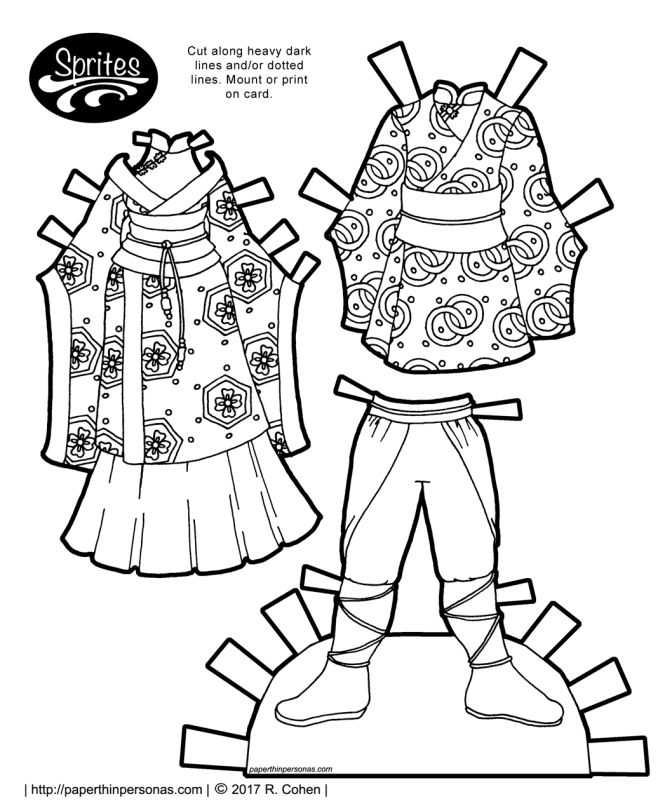 A pair of fantasy outfits for the Sprites printable paper doll series based on qiapo and kimono. Free printable paper doll coloring page from paperthinpersonas.com.