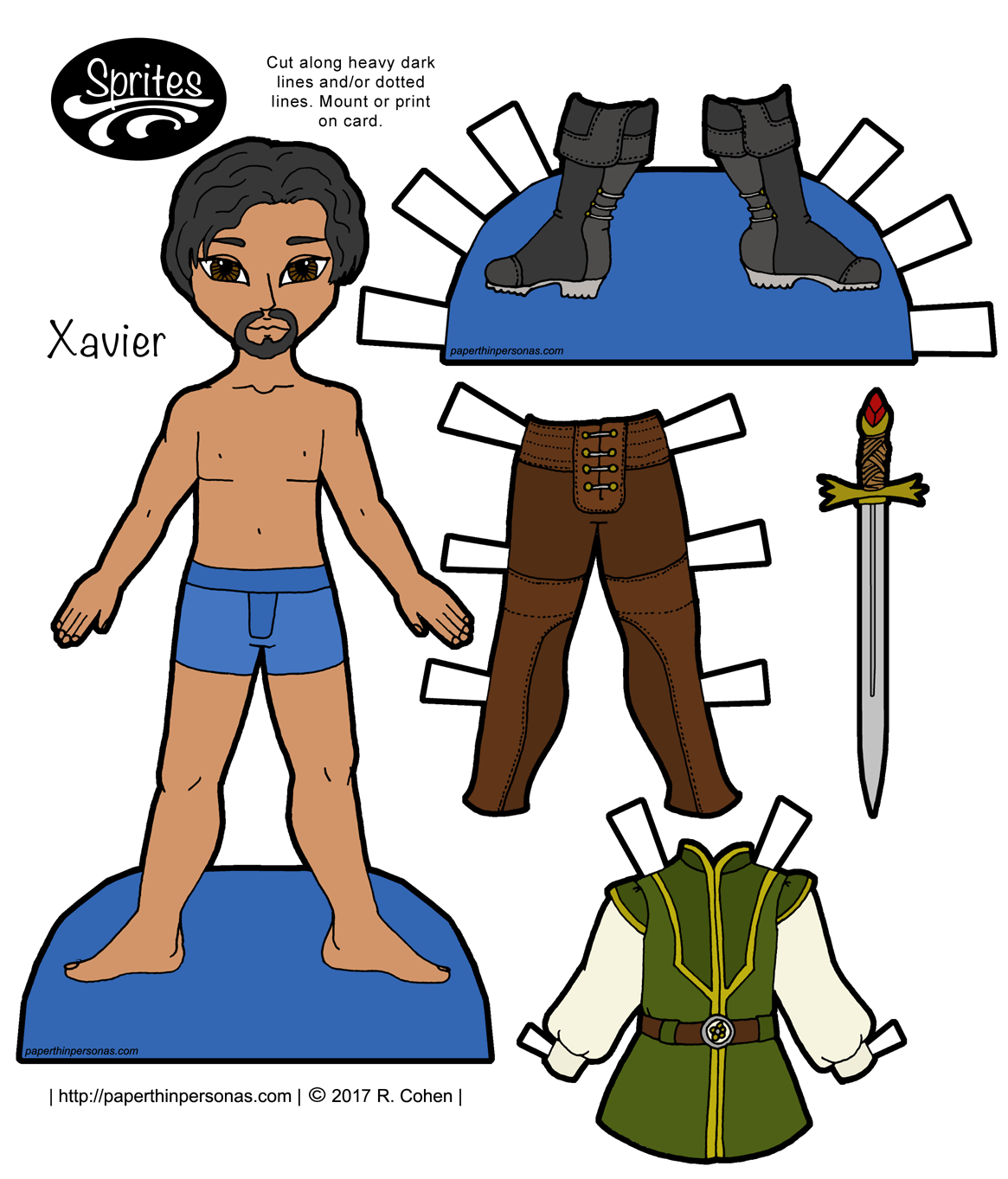 A fantasy paper doll guy with leggings boots a tunic and a stylish goatee