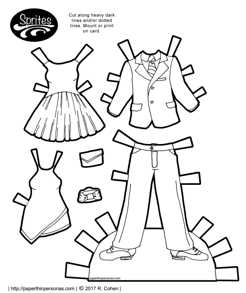 Two cocktail dresses and a suit for the Sprites paper dolls. Free to print and color from paperthinpersonas.com.