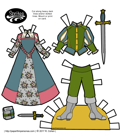 Ladies and gents fantasy paper doll clothing to print based on Tudor Era dress Free to print from paperthinpersonas.com.