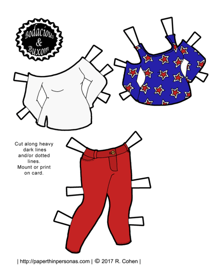 A set of patriotic paper doll clothing to celebrate the 4th of July for the curvy B&B printable paper doll series from paperthinpersonas.com.