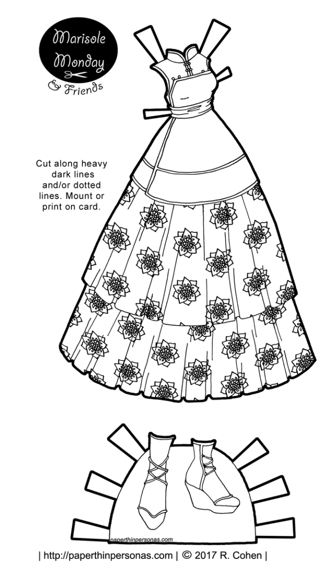 Paper doll Dress. Printable paper doll series from paperthinpersonas.com.