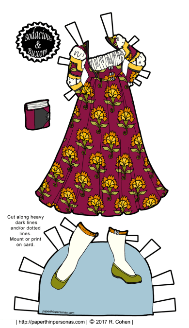 A fantasy paper doll gown inspired by the renaissance with stockings and shoes with a book as an accessory.