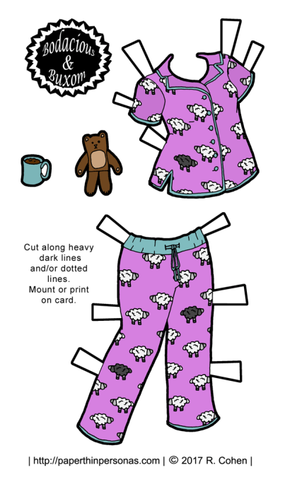 A pair of paper doll pajama's with sheep on them, plus a teddy bear and a cup of joe. Free to print in color or black and white.