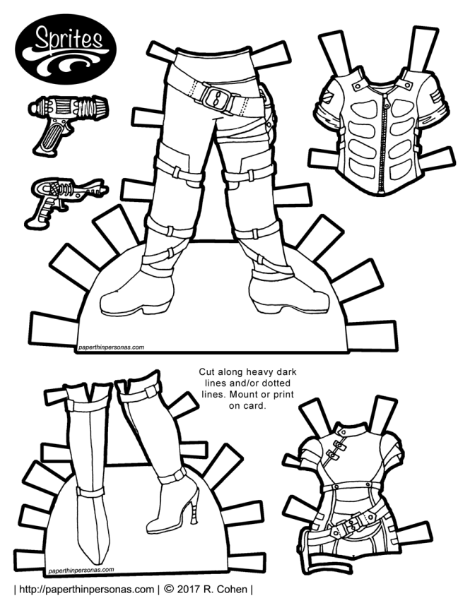 Space pirate printable paper doll outfits from paperthinpersonas.com with ray-guns and tall boots. Free to print from paperthinpersonas.com in color or black and white.