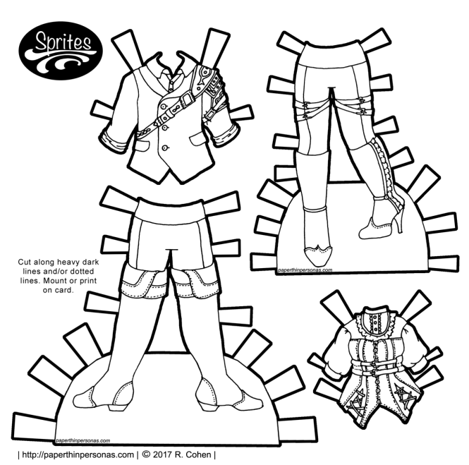 Steampunk paper doll fashions for men and women designed for the Sprites paper doll collection on paperthinpersonas.com. One of hundreds of free paper dolls to print. color, and play with.