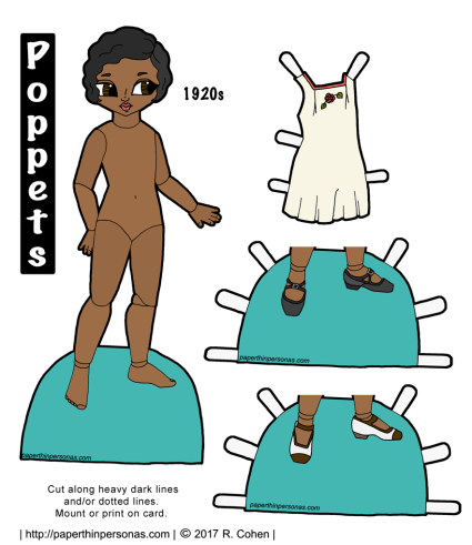 A paper doll of the Poppet series with brown skin, black hair and brown eyes. She has a 1920s set of underwear and two pairs of shoes.