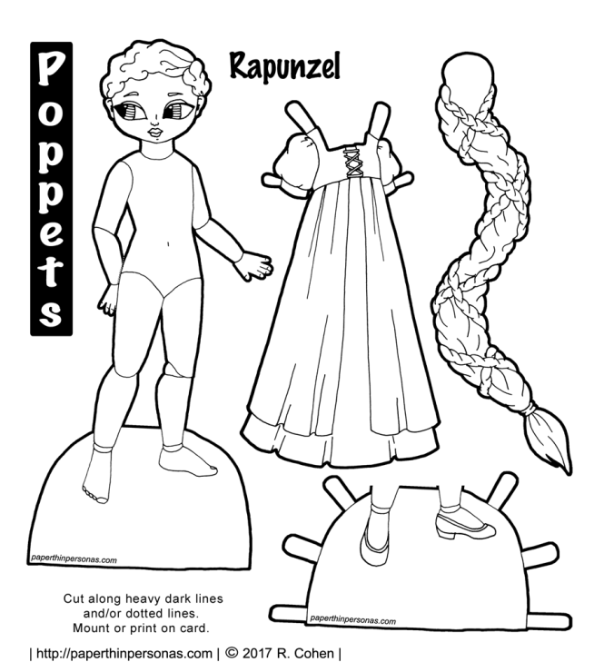 My Rapunzel paper doll is printable and has a long braid of hair.