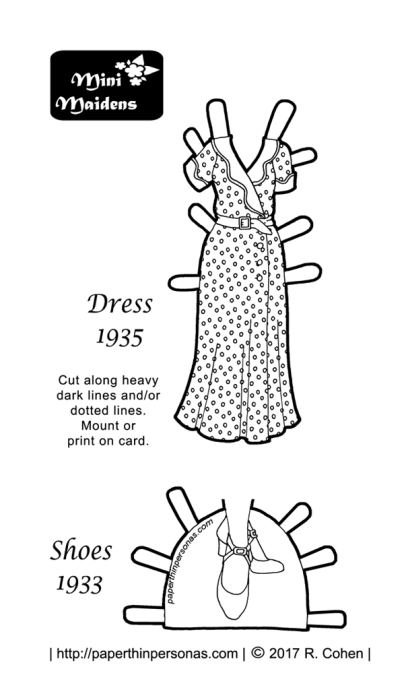 A black and white 1935 paper doll dress coloring page with shoes. Free to print from paperthinpersonas.com.