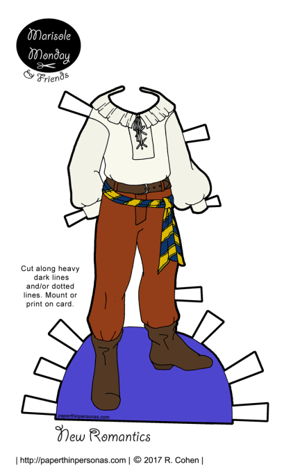 A guy New Romantics paper doll outfit with a poets shirt and several belts from paperthinpersonas.com.