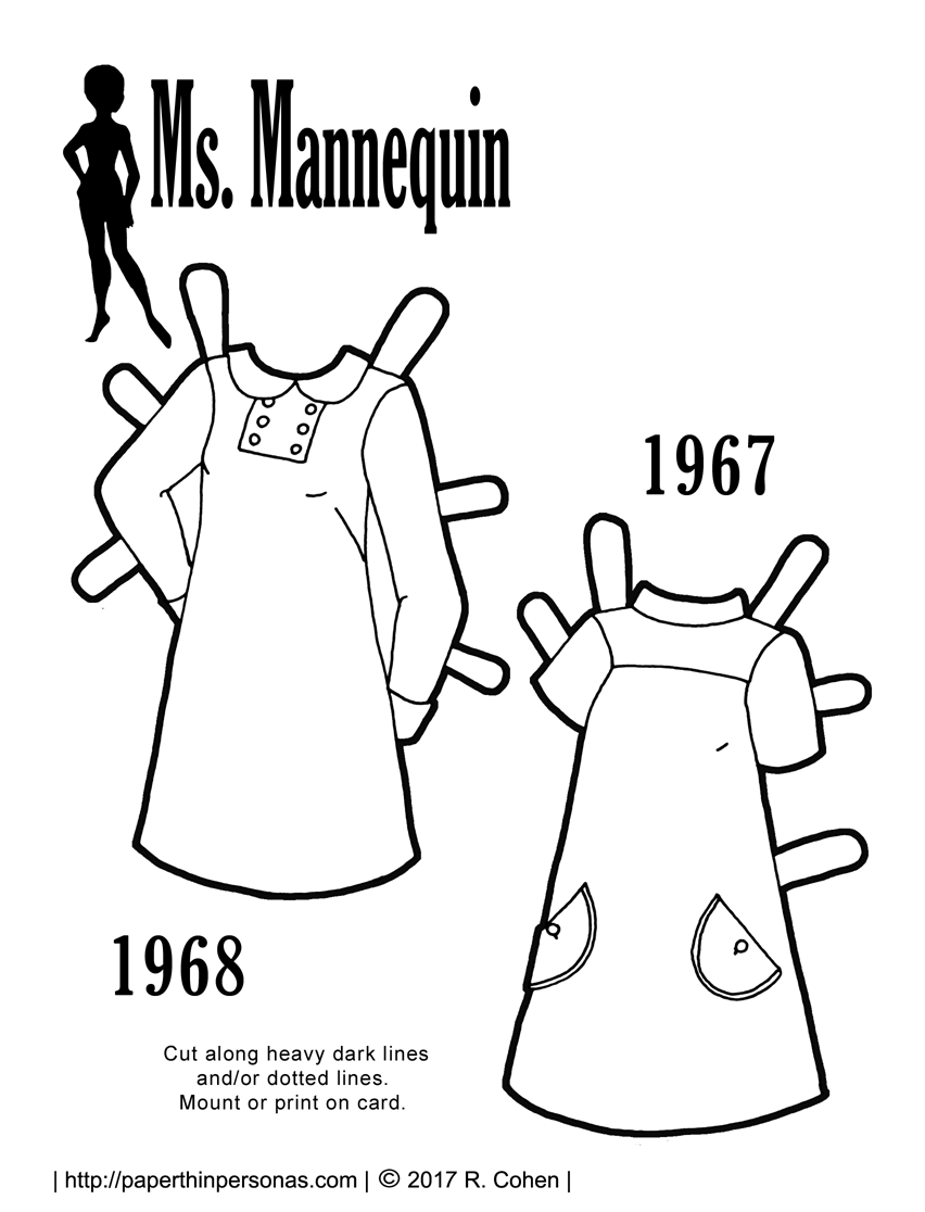 clothes archives paper thin personas 1920s Concrete Picnic Tables a pair of 1960s vintage paper doll dresses based on sewing pattern covers from 1968 and
