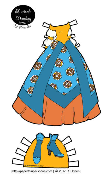 A fantasy princess paper doll ball gown in blues and yellows to print and play with. One of hundreds of paper dolls to print from paperthinpersonas.com.