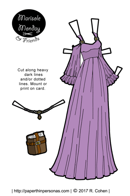 A lavender gown with full flared sleeves, a high waist and flowing skirt. To go with the gown, there is a crown and a book. Free to print from paperthinpersonas.com.