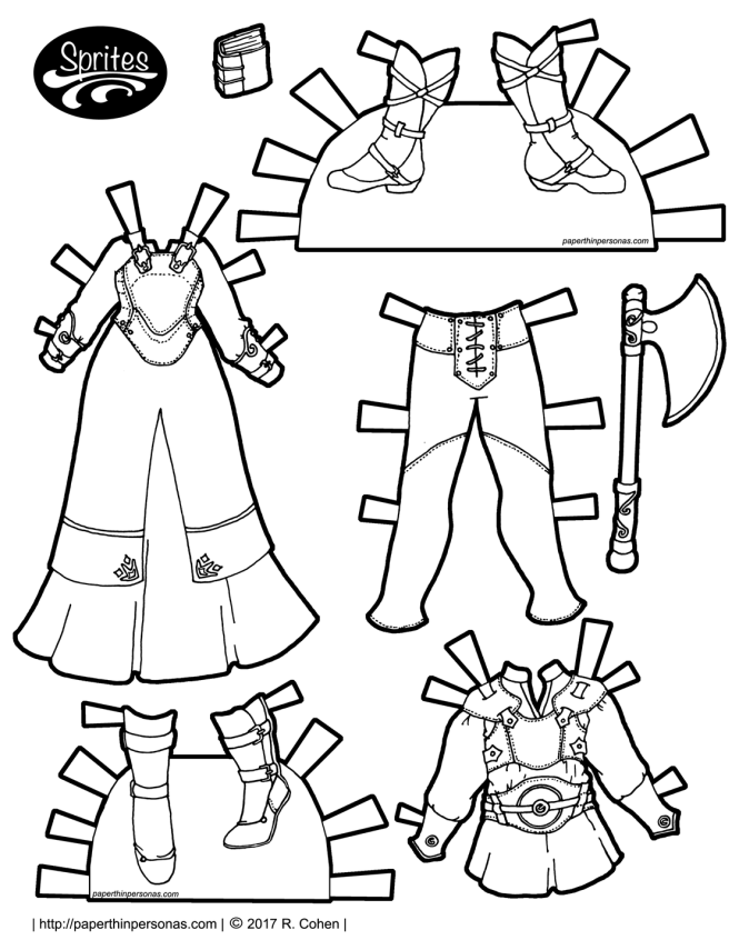 A set of fantasy printable paper doll clothing. There is a dress with a leather breastplate over it for the female Sprite paper dolls. There is also a tunic under leather armor with leggings and boots for the guy Sprites paper dolls. The clothing can be worn by any of the Sprites paper doll series.