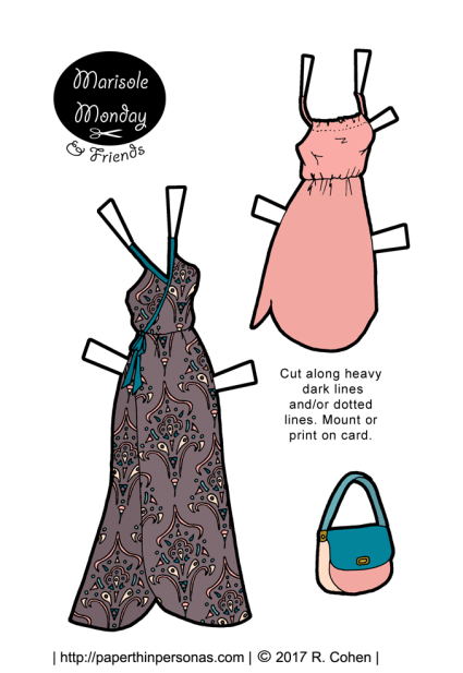 A pair of paper doll sundresses to print, cut out and dress up a printable paper doll in. The dress on the left is warm grey with a teal and pink pattern. The dress on the right is pale pink. There is a coordinating purse as well.