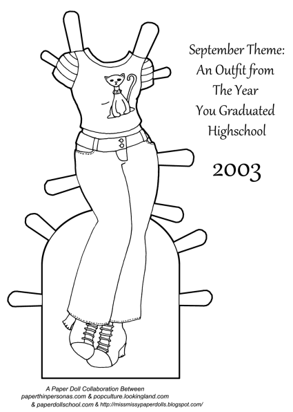 A black and white paper doll outfit coloring page from the year 2003, which was the year I graduated high school.