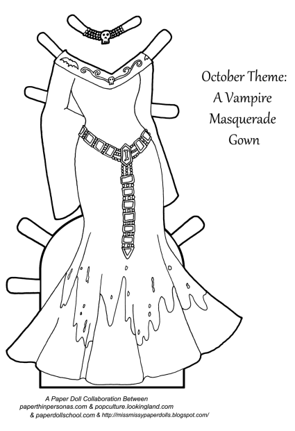 A Halloween inspired vampire masquerade paper doll gown to print and color from paperthinpersonas.com.