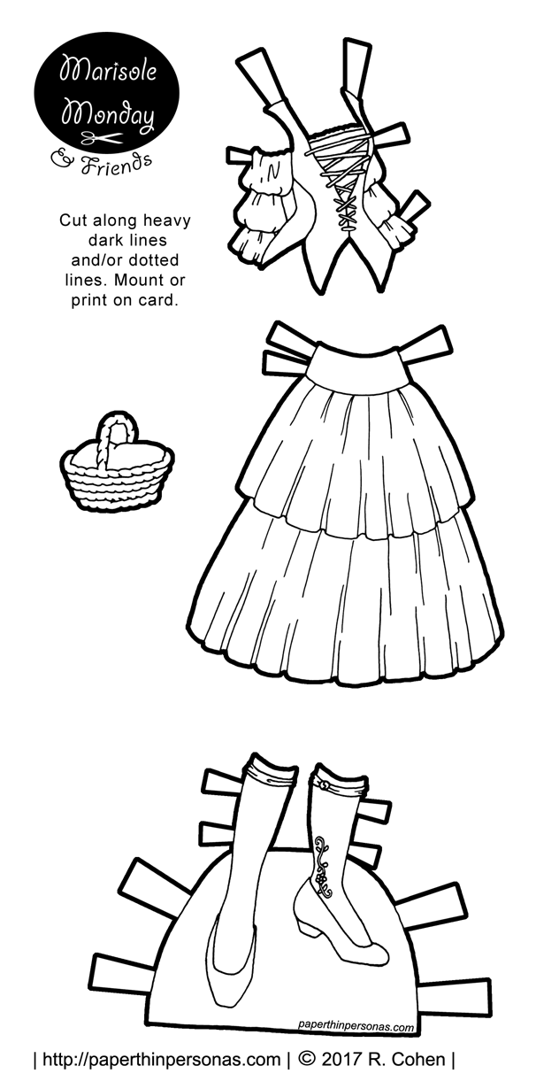 A paper doll fantasy dress with a corset top and full skirt. Matching shoes with white stockings from paperthinpersonas.com. Free to print in color or black and white.
