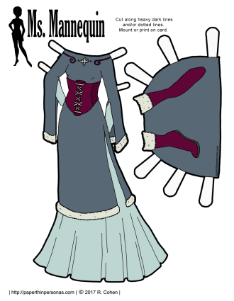 A winter princess gown trimmed in fur with matching boots.