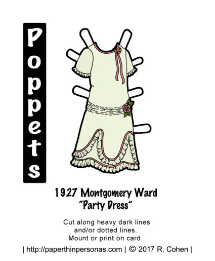 A printable paper doll party dress from 1927. The dress is trimmed in ribbons and roses.