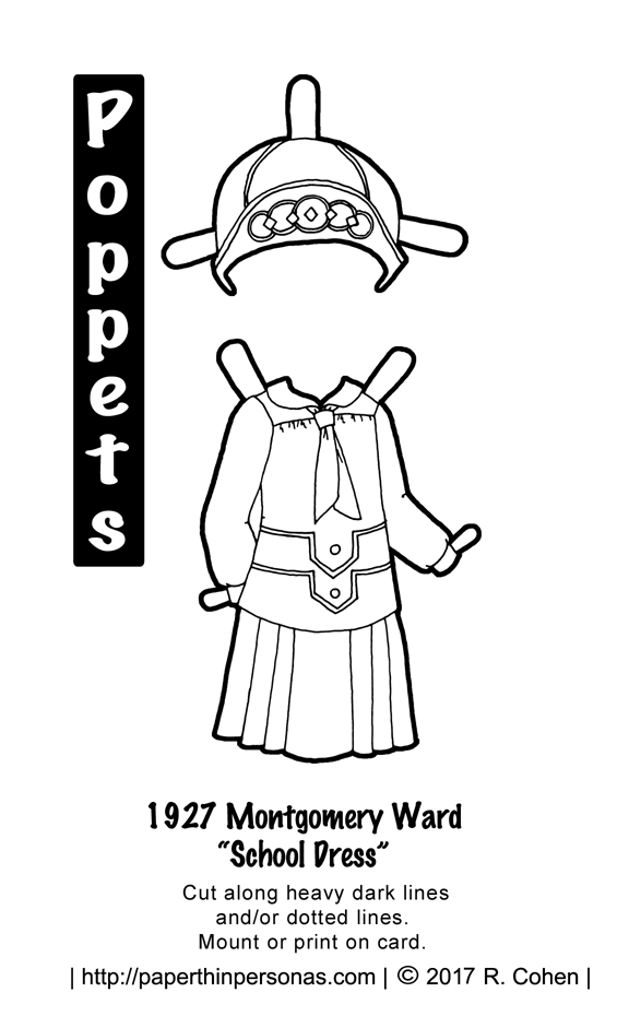 "printable 1927 paper doll dress with matching hat from paperthinpersonas.com. The dress is a ""school dress"" with a blouse and matching pleated skirt. The hat is a cloche with contrast trim to color."