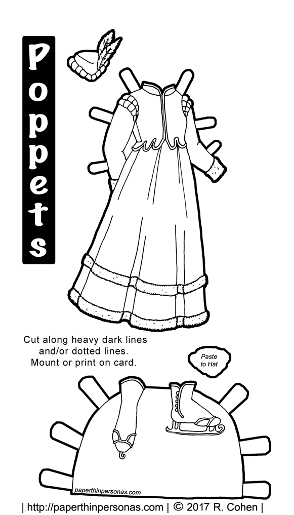 clothes archives paper thin personas 1920s Costumes a fantasy princess ice skating paper doll dress for the poppet s printable paper dolls from paperthinpersonas