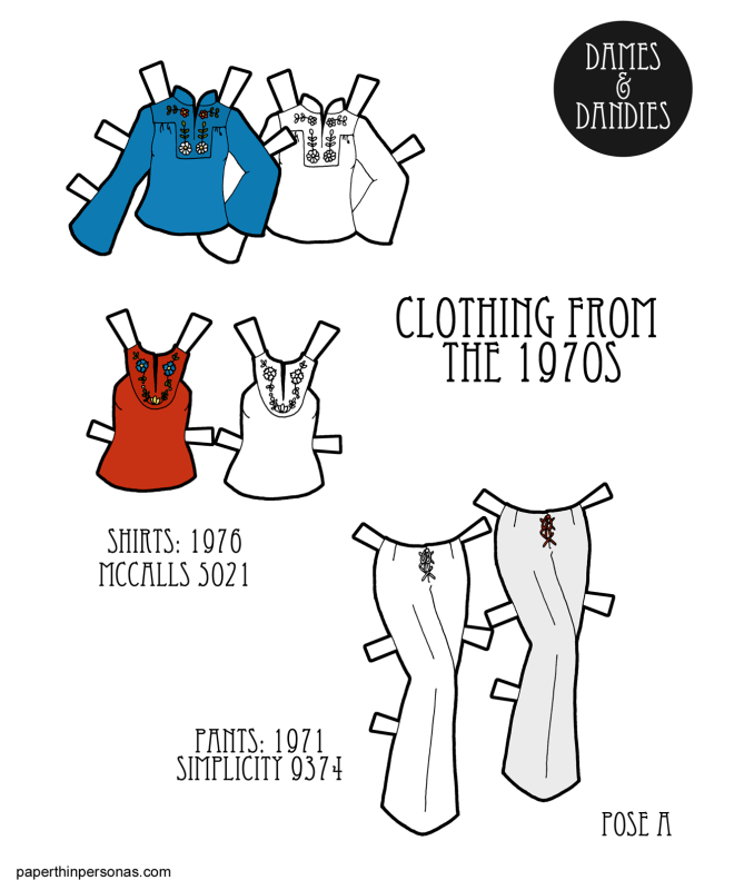 A set of printable paper doll clothing from the 1970s. A pair of tops and pants from home sewing patterns of the era.