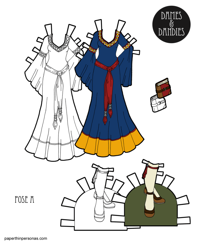 A fantasy gown design for the Dames and Dandies printable paper doll series from Paperthinpersonas.com. Free to print in color or black and white.