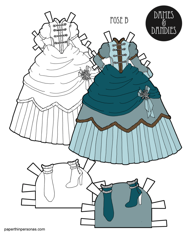 A fantasy winter princess dress designed to fit the B Pose printable paper dolls from paperthinpersonas.com. Free to print in color or black and white.