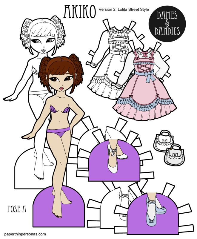 A Sweet Lolita paper doll with a ruffled dress, purse and two pairs of shoes in color or black and white for coloring. Free from paperthinpersonas.com.