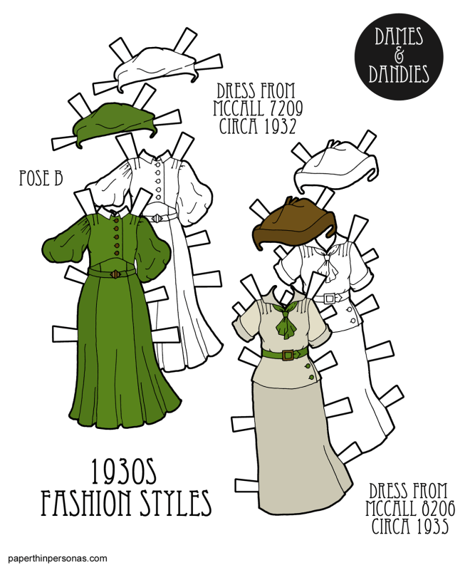 A pair of 1930s paper doll dresses based on 1930s sewing pattern covers in color or in black and white for coloring. Along with the two dresses, there are two hats.