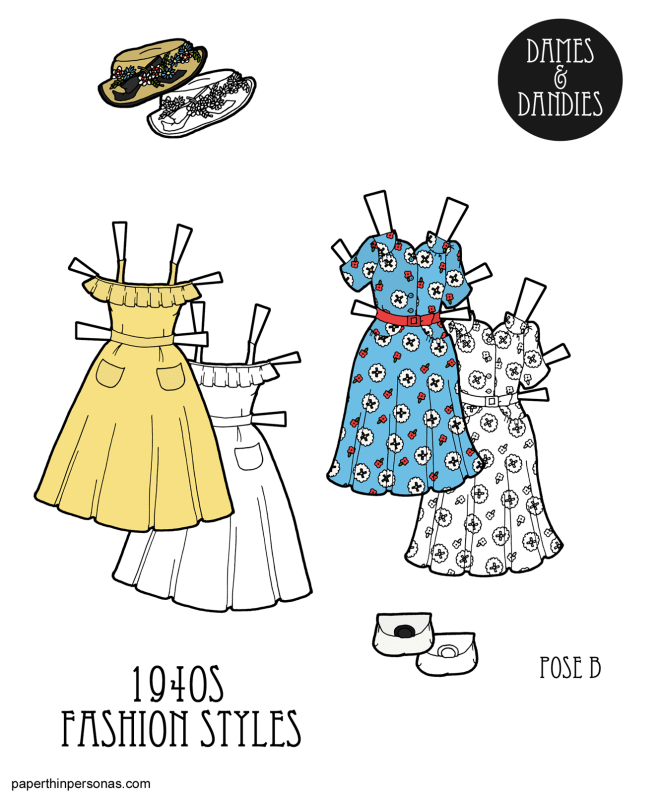 A set of 1940s paper doll clothing with two dresses based on sewing pattern covers, a white purse and a straw hat. The paper doll clothing can be printed in black and white or in color.