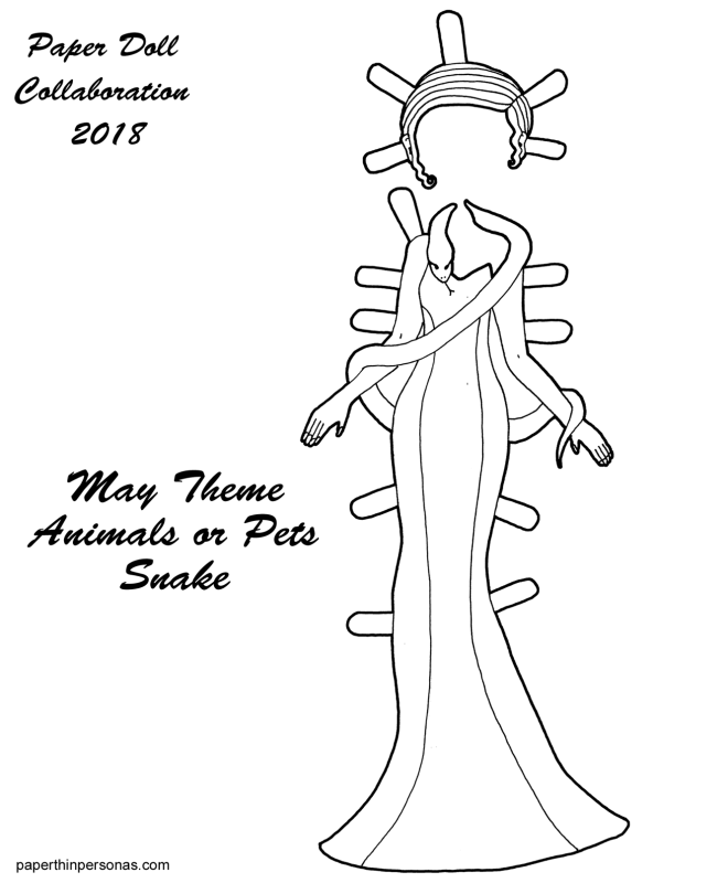 A paper doll clothing coloring page featuring an evening gown and snake wrapped around the paper doll's shoulders. Part of the 2018 paper doll collaboration.
