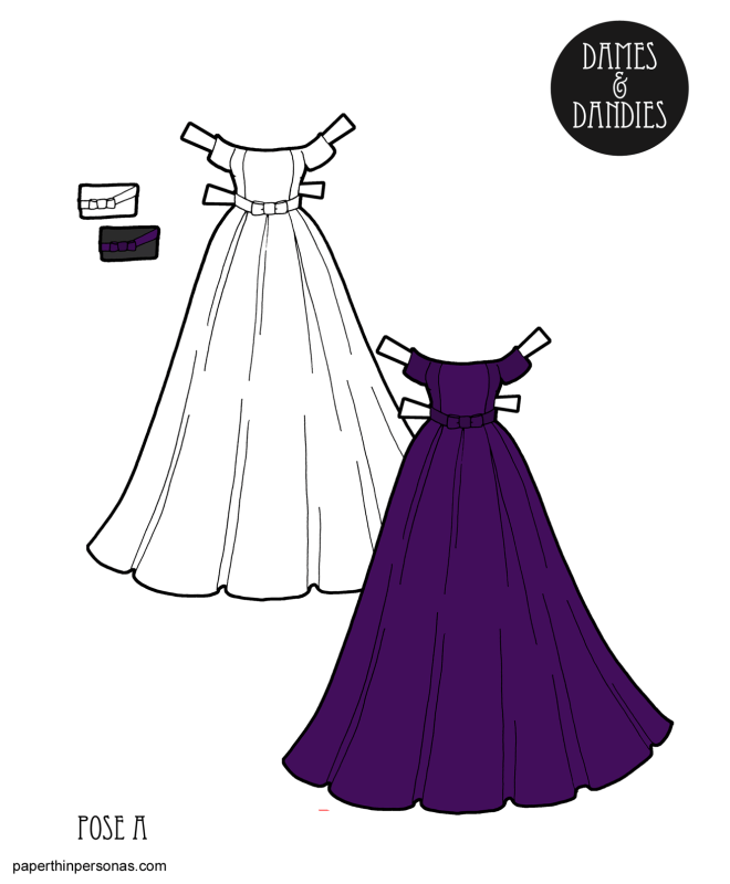 An elegant purple evening gown for the A pose printable paper dolls.