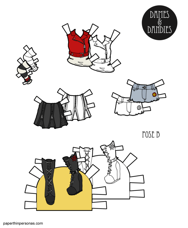 Even paper dolls want to rebel sometimes! Here's a set of printable paper doll clothing inspired by Punk fashion with cut off shorts, boots, a skirt, biker jacket over a tank and an arm warmer. Designed for the B Pose printable paper dolls.