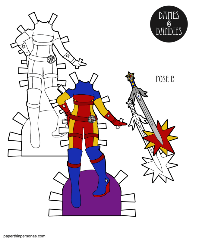 A superherp paper doll costume to print for the Dames and Dandies paper dolls from paperthinpersonas.